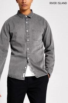 Светло-серая джинсовая рубашка River Island