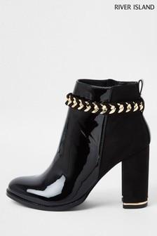 River Island Black Chain Topline Boots