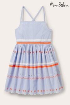 Boden Blue Multi Trim Detail Dress