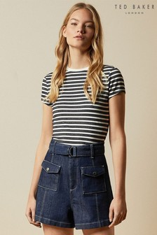 Ted Baker Blue Avveri Breton Striped T-Shirt