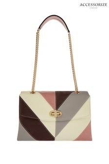 Accessorize Cream Chevron Adele Shoulder Bag