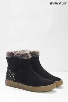 White Stuff Black Ivy Faux Fur Ankle Boots