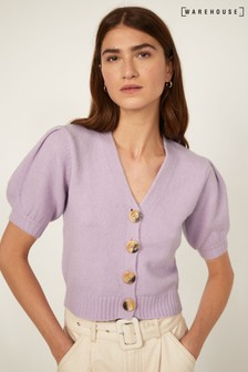 Warehouse Purple Puff Sleeve Cropped Cardigan