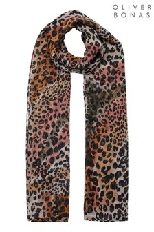 Oliver Bonas Black Desert Animal Print Lightweight Scarf