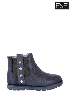 FF Navy Shimmer Chelsea Boots