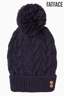 FatFace Blue Knitted Pom Beanie