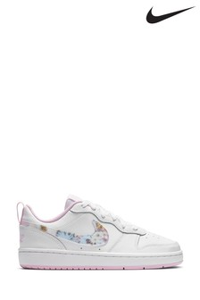 Nike White Floral Court Borough Low Youth Trainers