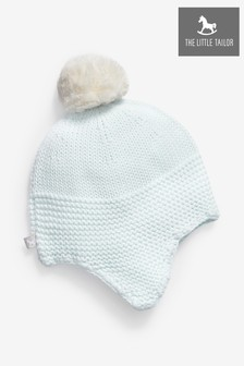 The Little Tailor Blue Baby Trapper Hat With Pompom