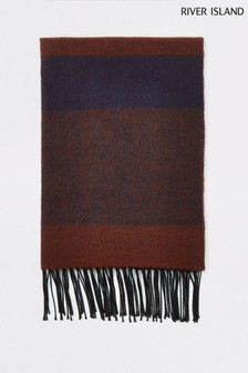 River Island Rust Navy Check Blanket Scarf