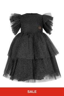 Girls Black/Silver Shimmer Dress