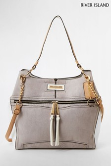 River Island Grey Light Utility Slouch Bag