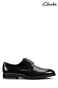Clarks Black Leather Oliver Lace Shoes