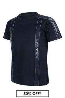 Boys Cotton Logo Trim T-Shirt