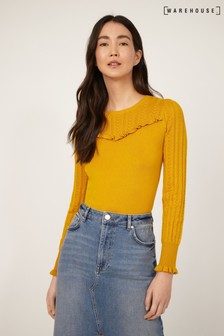 Warehouse Yellow Pointelle Ruffle Yoke Jumper