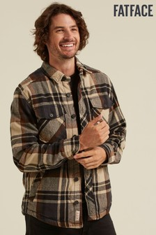 FatFace Natural Borg Lined Check Overshirt