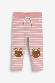 Stripe Mouse Embroidered Leggings (3mths-7yrs)