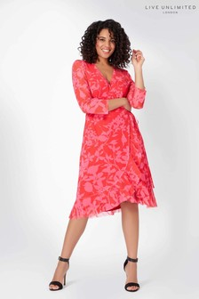 Live Unlimited Red/Fuchsia Floral Mesh Wrap Dress