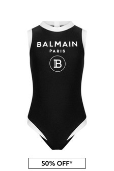 Balmain Girls Black Swimsuit