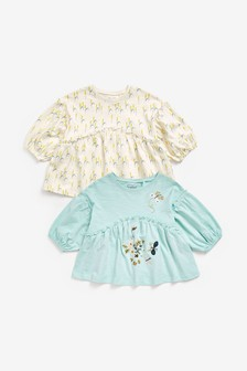 2 Pack Long Sleeve Butterfly Tunics (3mths-7yrs)