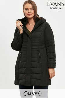 Evans Curve Black Quilted Coat
