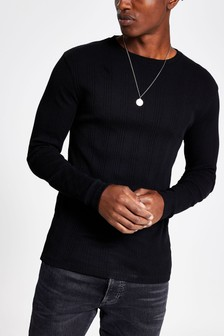 חולצה עם צווארון עגול מבד ריב של River Island דגם Varied בשחור
