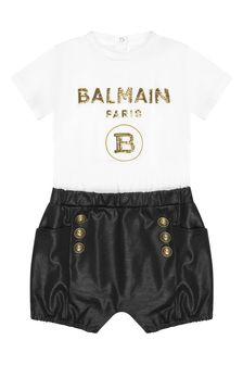 Balmain Baby Girls White Cotton Playsuit