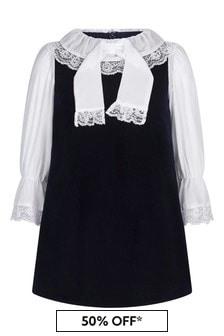 Girls Navy Velvet Dress With Lace Details
