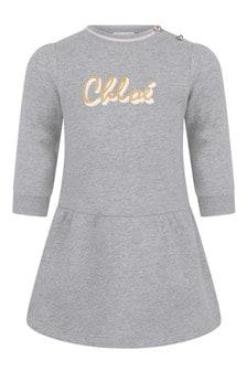 Baby Girls Grey Fleece Logo Dress