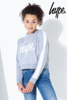 Hype. Side Stripe Kids Crop Pullover Hoody