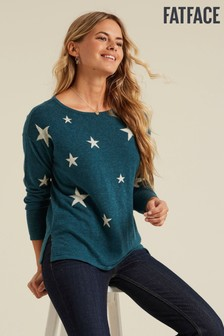 FatFace Green Star Jumper