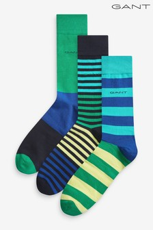 GANT Green Striped Socks 3 Pack Gift Box