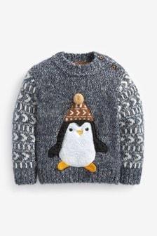 Younger Boys Grey Penguin Jumper (3mths-7yrs)