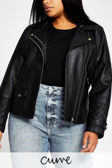 River Island Plus Black Double Zip PU Biker Jacket