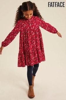 Красное платье с зимним цветочным рисунком FatFace