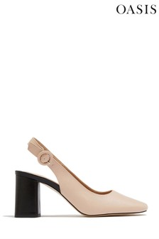 Oasis Natural Slingback Block Heel Shoes