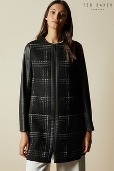 Ted Baker Black  Shellie Faux Leather Sleeve Checked Coat