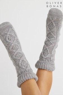 Oliver Bonas Rainbow Shimmer Grey Slipper Socks