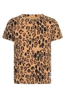 Kids Beige Leopard Print T-Shirt