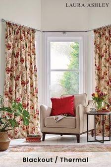 Laura Ashley Cranberry Gosford Pencil Pleat Curtains