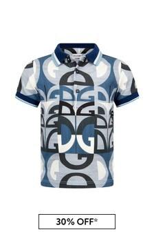 Dolce & Gabbana Kids Baby Boys Blue Cotton Polo Top