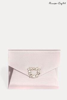 Phase Eight Pink Dasha Grosgrain Jewelled Clutch Bag