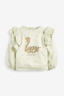 Swan Frill Sweatshirt (3mths-7yrs)