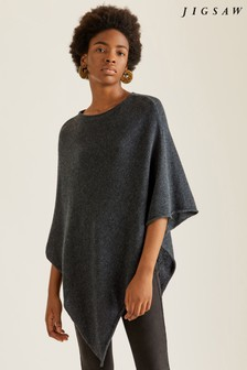 Jigsaw Black Wool Cashmere Blend Rolled Poncho