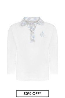 Boys White Cotton With Blue Checkered Collar Polo Top