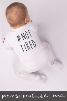 Personalised Hashtag Not Tired Sleepsuit
