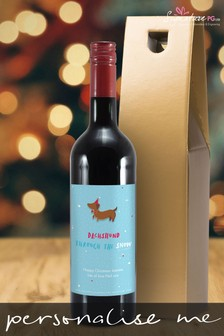 Personalised Dachshund Through The Snow Red Wine by Signature PG