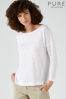 Pure Collection White Linen Jersey Boat Neck Top