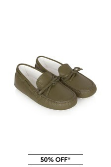 Tods Boys Green Leather Loafers