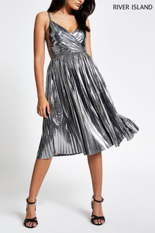 River Island Silver Lumi Pleated Dress