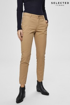 Selected Femme Beige Megan Regular Fit Chinos